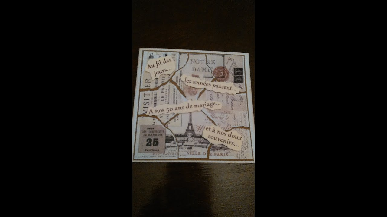 Carte Scrapbooking 50 Ans De Mariage Scrapbooking 50 Years Wedding Card