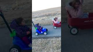 Sisters racing with toy cars #shorts