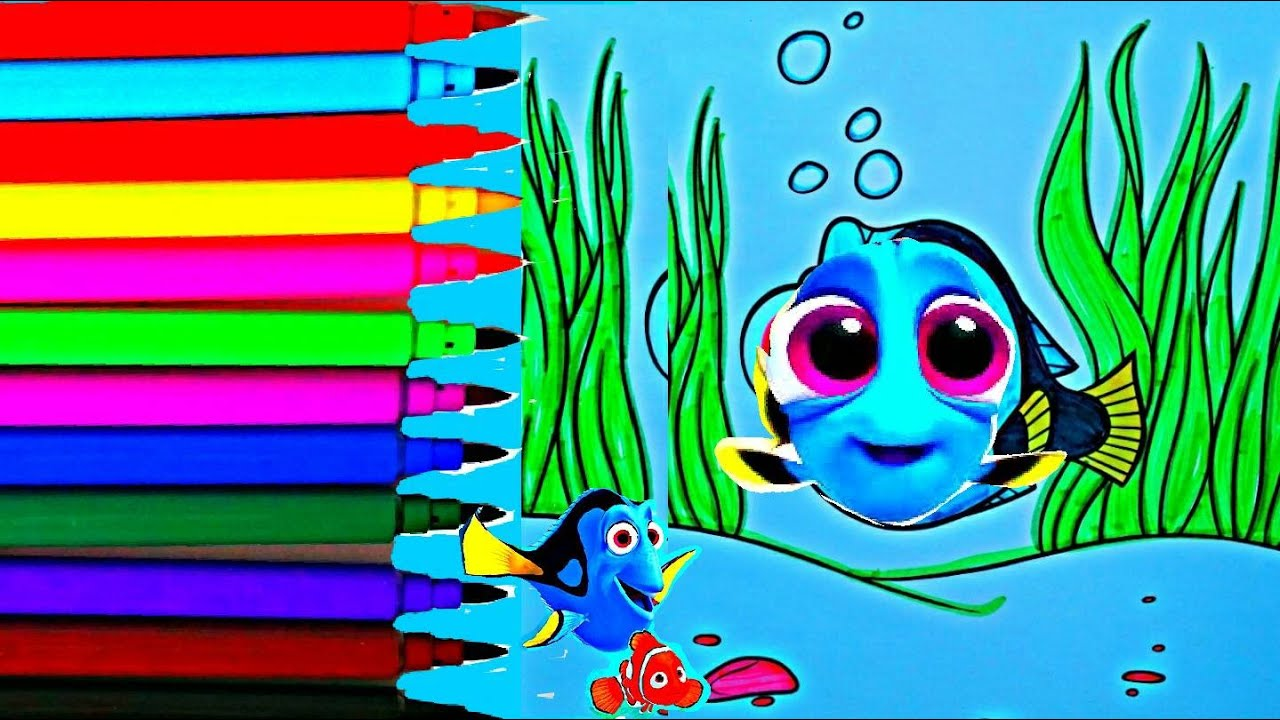 DISNEY\'S Pixar\'s FINDING DORY Coloring Book How To Color Kids Videos ...