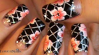 Decoracion De Uñas Negro Con Flores A Mano Alzada Tutorial thumbnail