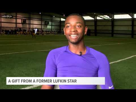 Dez Bryant gives cleats to current Lufkin high school football player