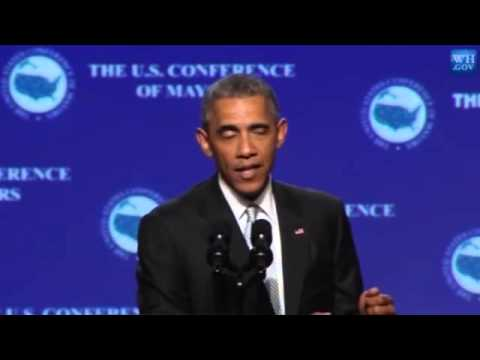 Obama Picks His Ear at US Conference of Mayors