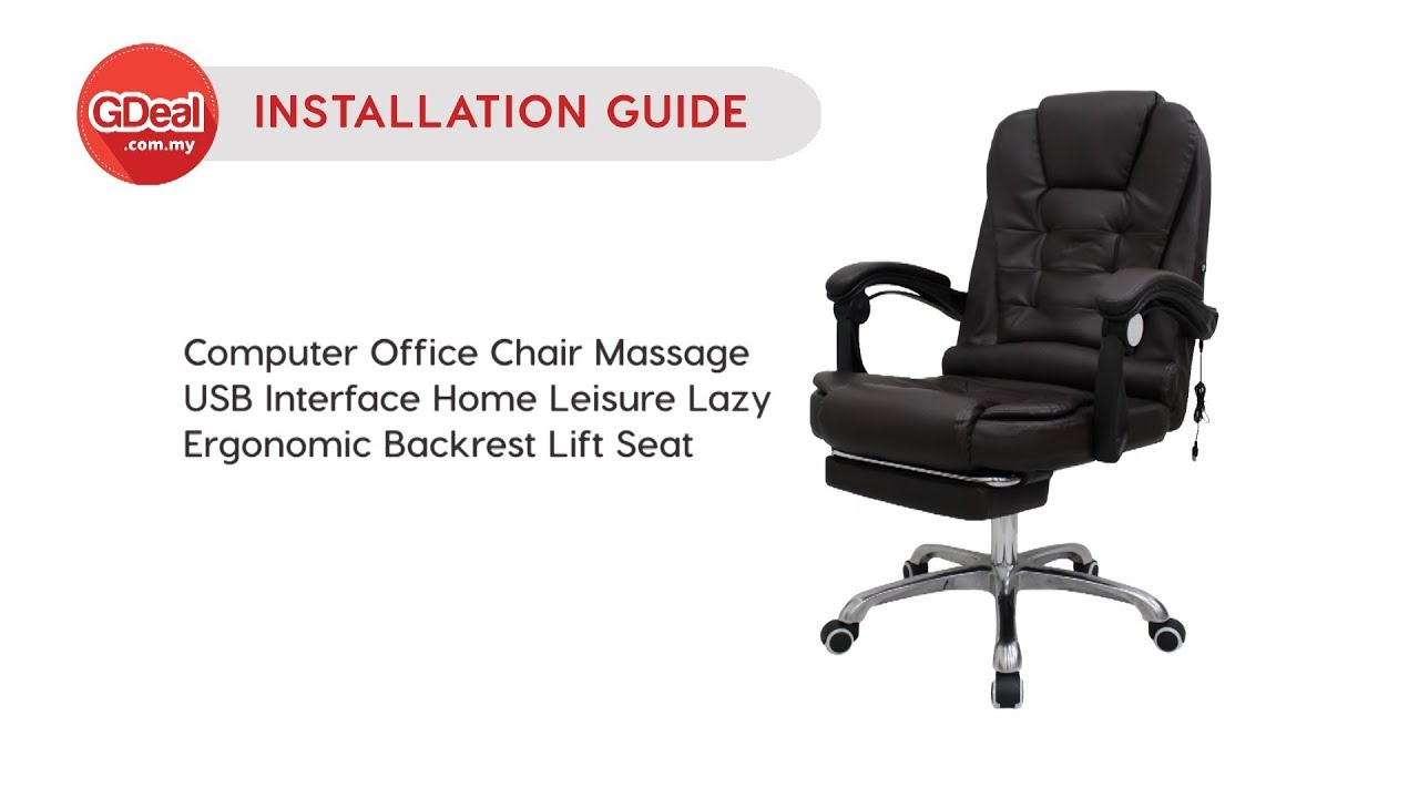 Installation Guide Computer Office Chair Massage Usb Interface Home Leisure Ergonomic Lift Seat Youtube