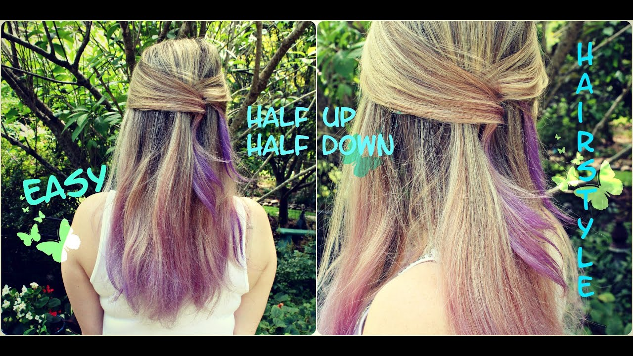 Quick And Easy Half Up Half Down Hairstyle For Medium To Long Hair Under Two Minutes Hair Youtube