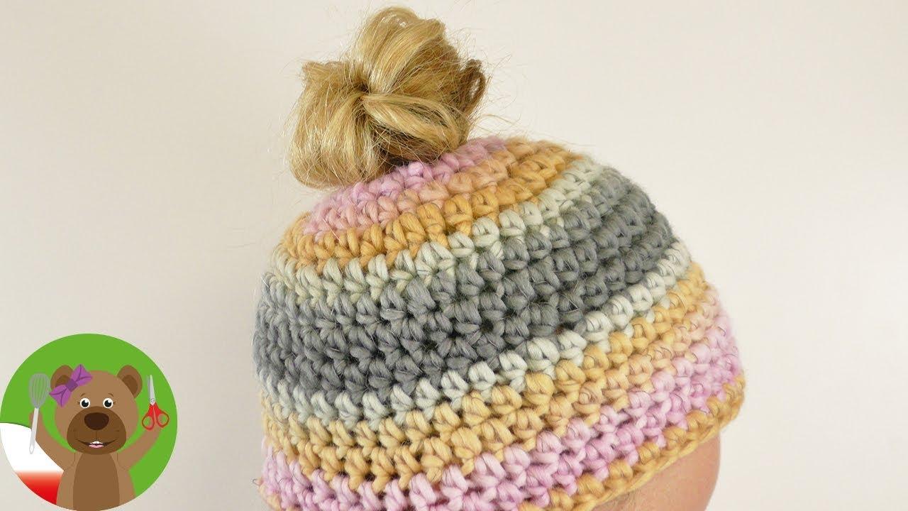DIY szydełkowanie | Messy Bun Hat | zimowa czapka na szydełku | proste wprowadzenie