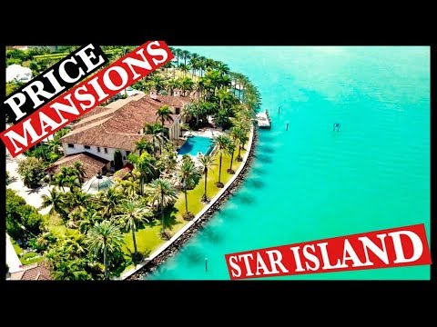 7 To 100 Million $ Mansions In Star Island Miami Beach. Drone