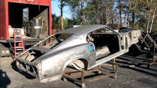 Riverside sandblasting '69 Shelby GT500 and '69 Mustang