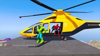 Spiderman Racing Motorcycle Challenge on HILL Rampa ! SUPERHERO Captain America HULK   GTA 5 #156