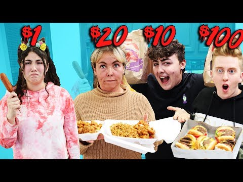 24 HOURS EATING FAST FOOD ON A BUDGET! $1 VS $100! Challenge!
