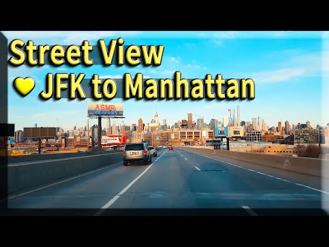 Street View💛New York JFK Airport Driving To Manhattan - USA