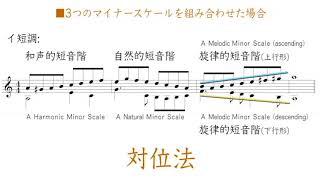 3つのマイナースケールの使い分け(自然的短音階・和声的短音階・旋律的短音階)