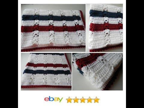 Baby Afghan Or Lap Blanket Red White And Blue Handmade Youtube