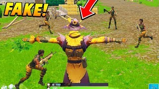 I pretended to be a FAKE SCARECROW at fatal fields.. (Fortnite Battle Royale)