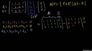 Espacio nulo 2:  calculando el espacio nulo de una matriz