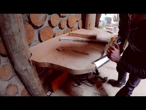 Off grid roundhouse build part 33 douglas fir kitchen worktops