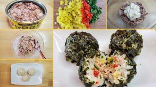 [참치마요 주먹밥]참치캔으로 간단한 아침 요리 만들기 …