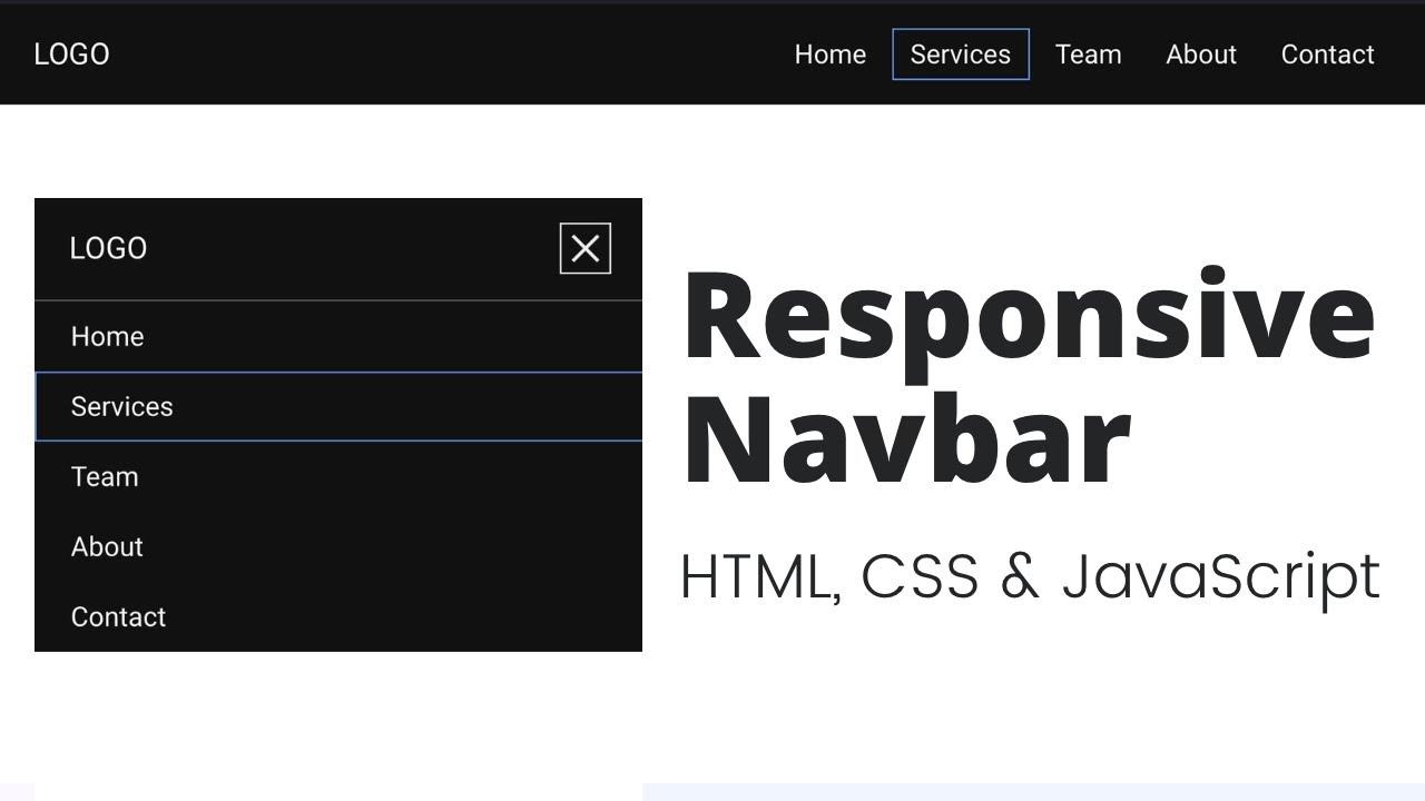 Create Responsive Navbar using HTML, CSS & JavaScript