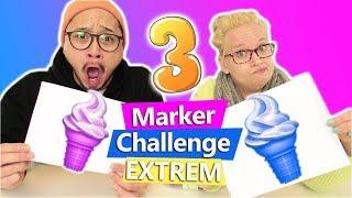 Three Marker Challenge 🍦 EXTREM 🍦 nur mit Links & Textmarker | Eva vs Yoshi | DIY Kids