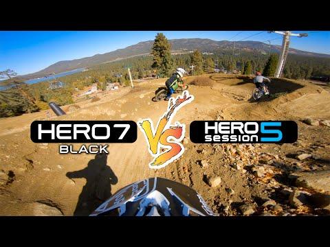 Comparing 2 Helmet Cam Setups In The Bike Park | GoPro HERO 7 Black VS HERO 5 Session