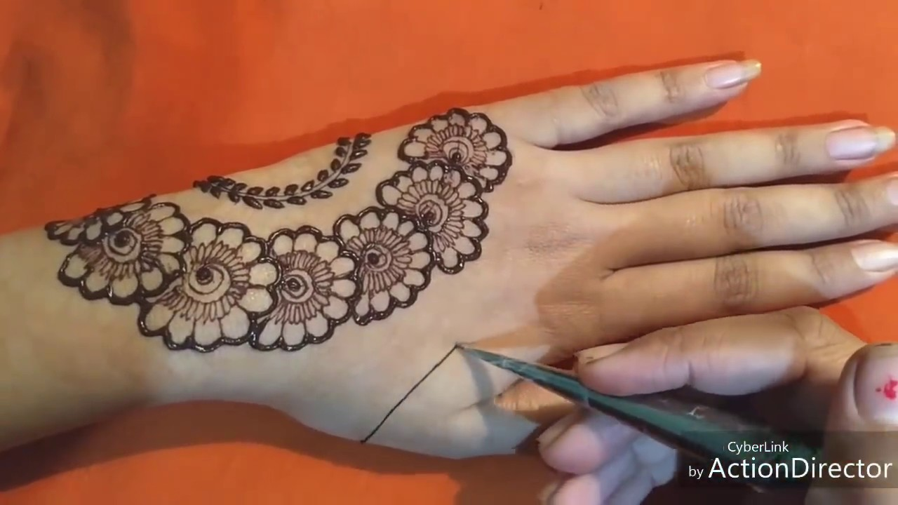 Simple back hand mehndi designs for beginners