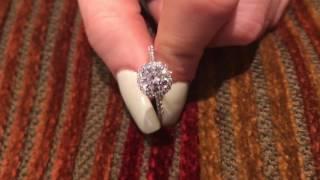 Platinum Engagement ring with 1 carat Round Cubic Zirconia Stone in halo  P8586