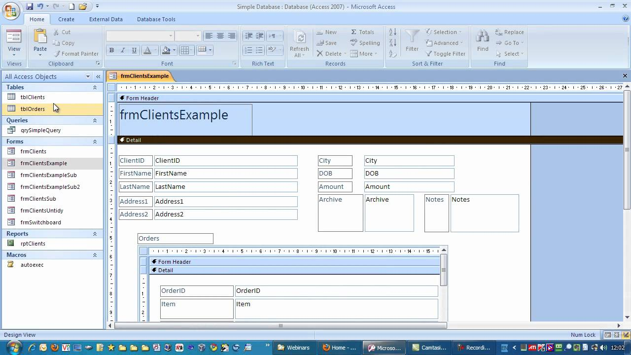 Tips on tidying up sub Forms in Microsoft Access