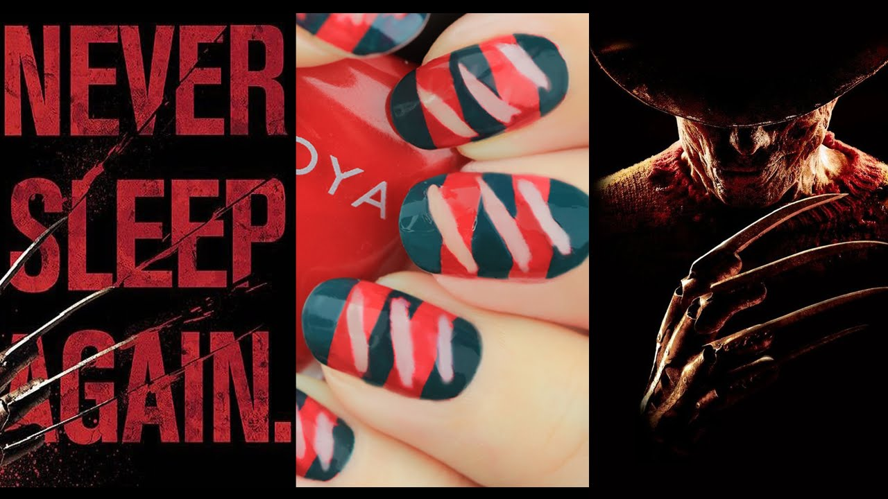 Easy DIY Freddy Krueger Nail Tutorial | A Nightmare on Elm Street ...