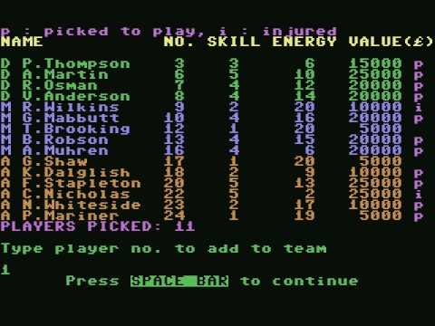[c64] Football Manager (1984)