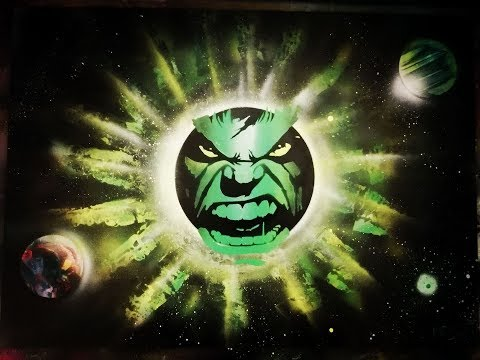 Incredible Hulk in Spray paint art tutorial