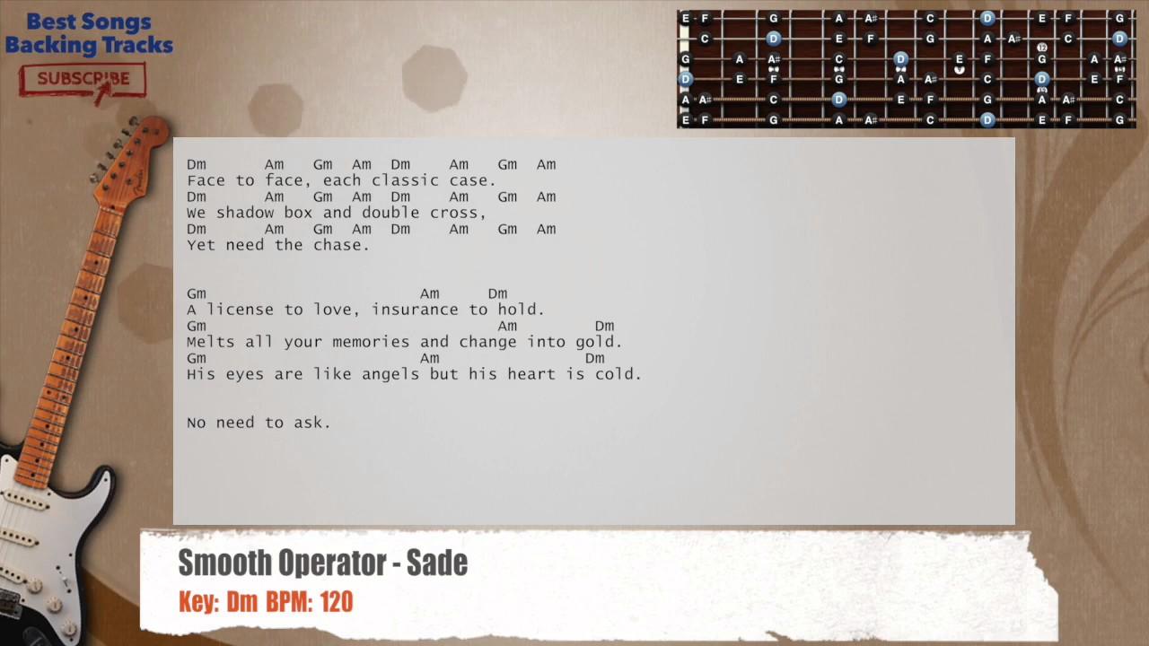 Smooth Operator Sade Guitar Backing Track With Chords And Lyrics