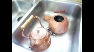Removing Grease and Tarnish Off Copper Pot / Kettle Easily and Cheap