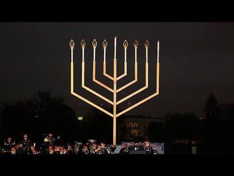 Hanukkah Menorah lit at White House