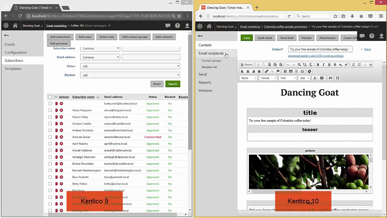Kentico 10 Vs Kentico 9 Working With Email Marketing 37 Youtube