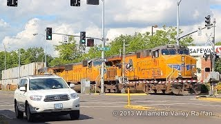 Union Pacific 7811 leads an IBRLCR through downtown Salem, Oregon 6.2.13