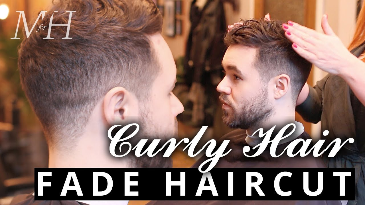 men fade haircut curly