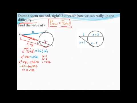 Finding Segment Lengths Of Secants And Tangents With The Quadratic
