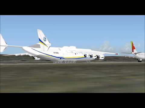 ANTONOV AN225 INTERNATIONAL CARGO TRANSPORTER TAKE OFF FROM LISBOA AIRPORT FS9 HD
