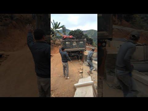 Truck Demolishes Brick Pillar