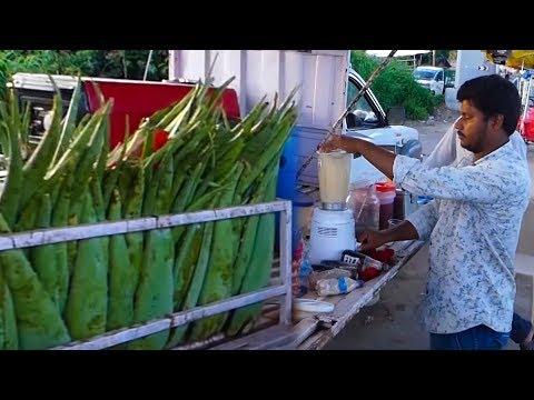 طعام الشارع الصحي | Aloe vera Juice | عصير أوفيرا| Street Food | KikTV Network