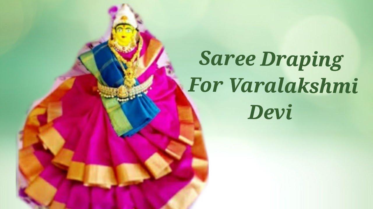 Varalakshmi saree draping || Goddess saree draping || easy draping