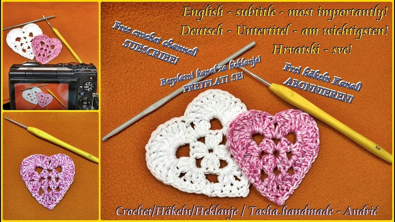 How To Crochet Granny Square Heart Step By Step Youtube