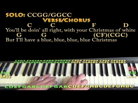 Blue Christmas - Piano Cover Lesson in C with Chords/Lyrics