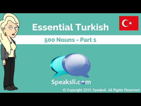500 Turkish Nouns - Part 1 | Learn Turkish | Turkish Vocabulary | Speaksli