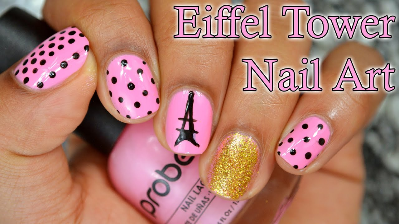 How To: Eiffel Tower Inspired Nail Art - YouTube