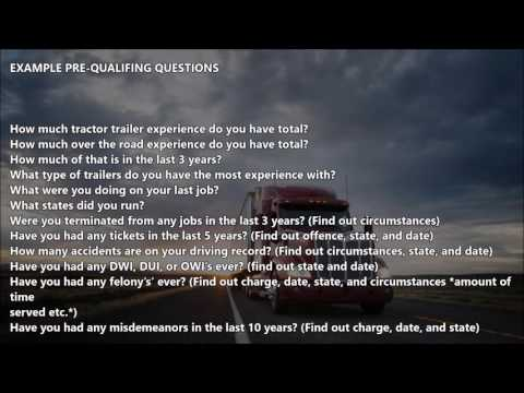 Truck Driver Recruiter Training - Pre Qualifing Truck Drivers