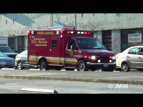 Medical Advance 1 unit 28 ambulance responding at downtown Mexico City