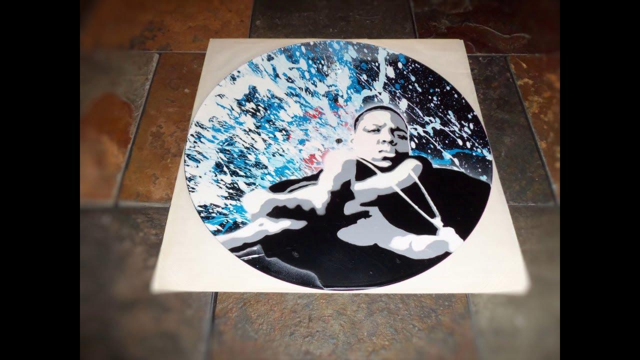 notorious b i g stencil on vinyl record