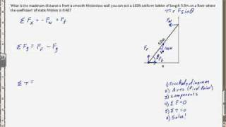 Example of Mechanical equilibrium with torque #2