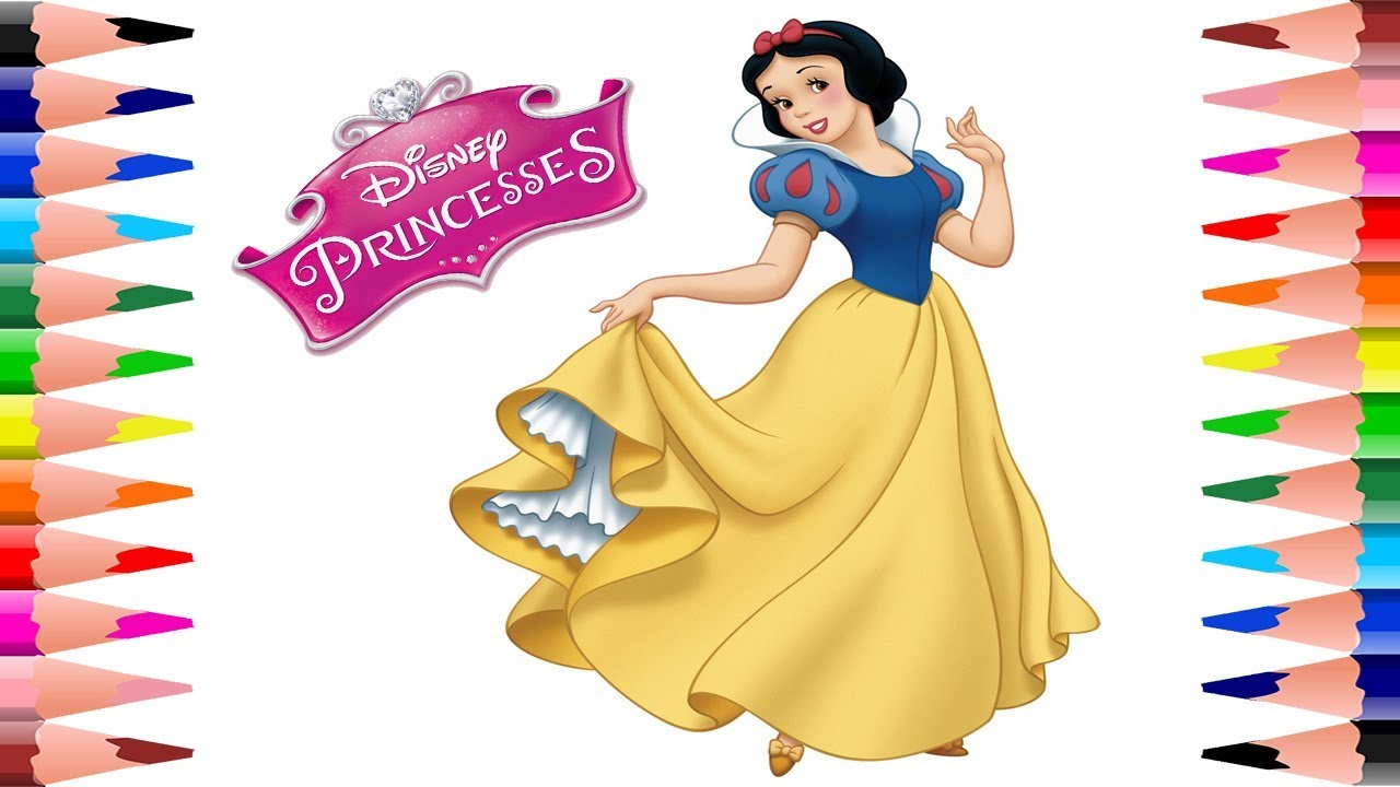 Painting Disney Princess Coloring Book For Kids Coloring Princess Snow White Coloring Pages Youtube