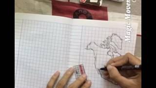 ວິທີແຕ້ມແຜນທີ່ທະວີບອາເມລິກາເໜືອ - How to Draw North America Map by ສະຫວັນນິມິດ